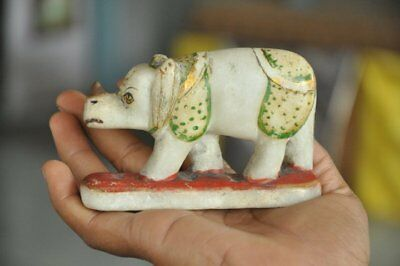 Old White Marble Fine Handcrafted Painted Rhinoceros Handcrafted Figurine