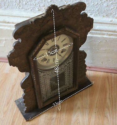 Vintage Wood Wall Clock  For Spares Or  Repair