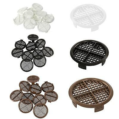 Round Soffit Air Vents 70mm Push Fit Eaves Discs, White Black Brown Pack Options