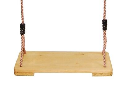 Kids Children Outdoor Garden Wooden Flat Swing Seat With Rope And Adjusters