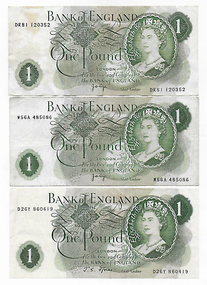 Great Britain 3 X 1 Pound 1960 Free Shipping
