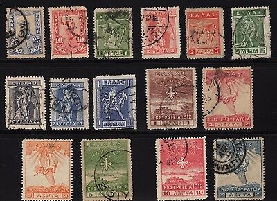 Greece 1901 - 1915, 15 used stamps, nice lot