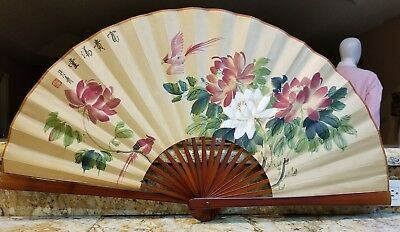 Large ASIAN Decorative WALL HANGING FOLDING Devor FAN lot 2X HAND PAINTED