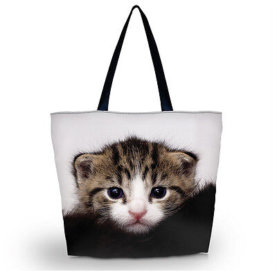 Fashion Cute Cat Women Girl Shopping Bag Shoulder Handbag Folding Tote  Bag