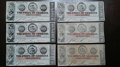 CSA Currency - State of Georgia $100 - Confederate Era
