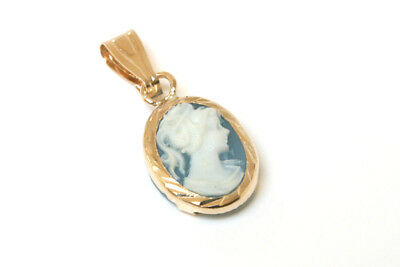 9ct Gold Oval Blue Cameo necklace Pendant Gift Boxed Made in UK