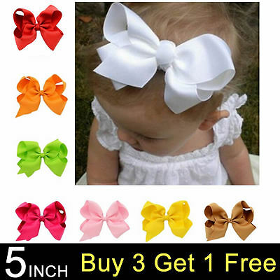 5 Inch Xl Bows Boutique Hair Clip Pin Alligator Clips Grosgrain Ribbon Bow Girl