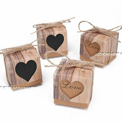 1-100PCS Luxury Rustic Heart Wedding Favour Favor Sweet Cake Gift Candy Boxes