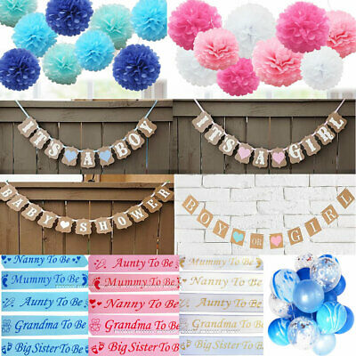 Baby Shower Boy or Girl Mummy To Be Sashes Confetti Balloons Photo Props Pompoms