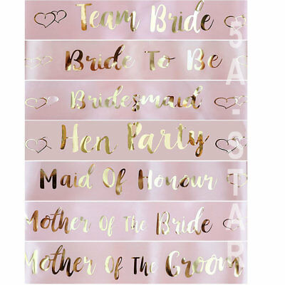 Rose Gold Bride To Be Bridesmaid Sash Wedding Hen Party Sashes Girls Night Out