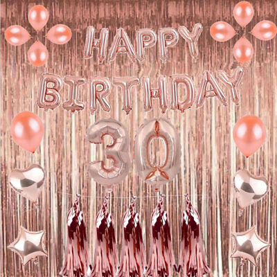 Rose Gold 18/21st/30/40/50 Latex Number Happy Birthday Balloons Party Curtain