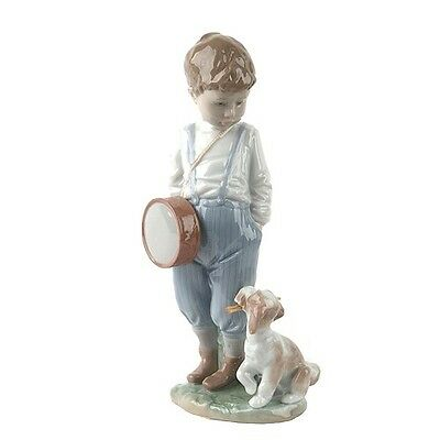 """LLADRO """"Friendly Duet"""" #6846 Figurine Young Boy with Drum and Puppy Retired"""