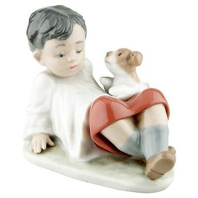 """Lladro #5988 """"Taking Time"""" Boy Leaning Back with Dog Great Condition Retired"""