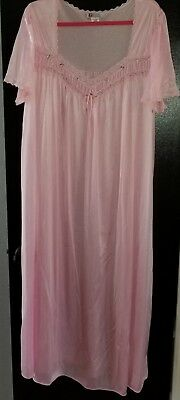 Woman within 1x Long Vintage nightgown pink floral lace nylon sleepwear vtg