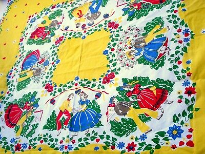 Vintage 40's Country garden tablecloth first date at the garden pastel yellow