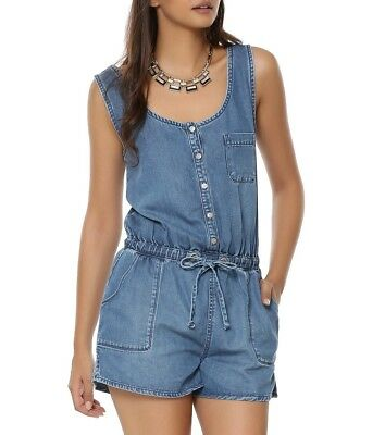 Women's Ex New Look Bella Sleeveless Denim Blue Playsuit Dungarees Shorts