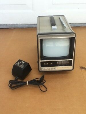 """VINTAGE Zenith Portable 5"""" TV Television Console Antenna w/Power Adapter NO51B"""
