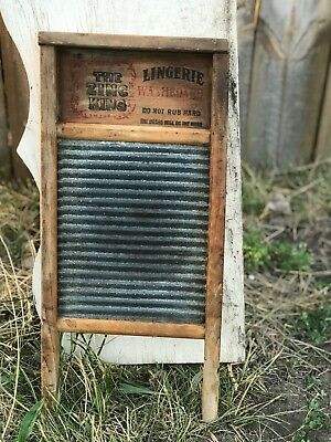 Rare Antique 1920s Lingerie Washboard Traditional Folk Percussion Zinc King #703