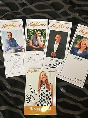 5 (FIVE) X NEIGHBOURS CAST CARDS (4 X Signed 1 X Rare) LEO PAUL KARL STEPH PIPER