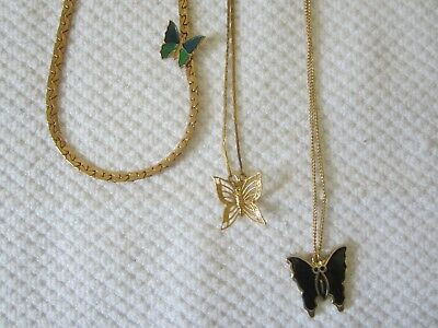 Lot of 3 Butterfly Necklaces Avon Napier Korea Vintage EUC