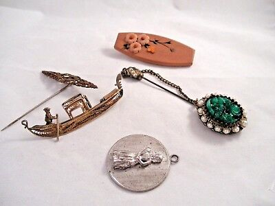 Vintage Estate Jewelry Lot Victorian 800 Silver Wells Sterling Etc.. Brooch Pin
