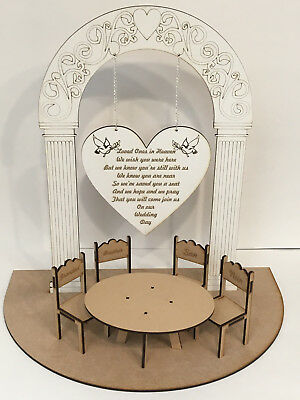 Loved Ones in Heaven Wedding Table 3D Centrepiece with Personalised Chairs