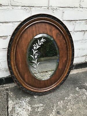 Small Antique Wooden Mirror With Etched Detail - Antique Mirror