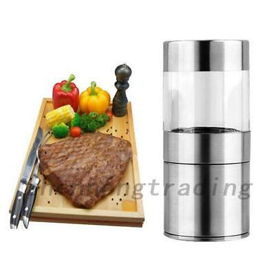 Silver Manual Salt Pepper Mill Grinder Kitchen Cooking Tools Stainless Steel