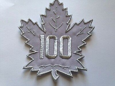"Toronto Maple Leafs 100 Years NHL Jersey Patch 4"" Silver Iron On Sew In Stock"