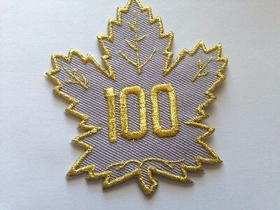 "Toronto Maple Leafs 100 NHL Jersey Patch 4"" Air Canada Gold Silver Iron On Sew"