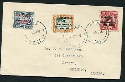1935 Silver Jubilee Niue set on First Day Cover to Canada