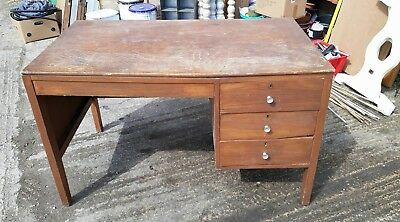 Vintage desk project office storage drawers work surface wooden