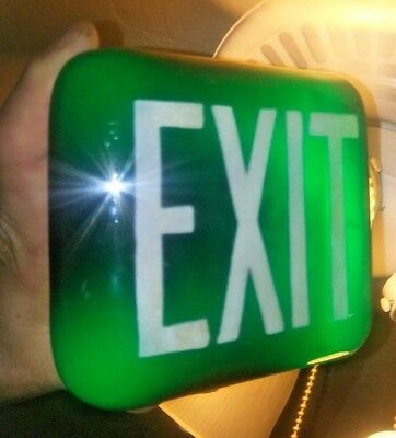 Vintage Green Triangular Glass Exit Sign