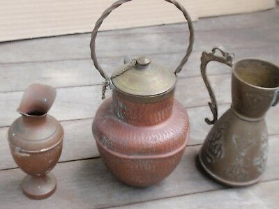 4 Small Antique Vintage Copper And Brass  Decorative  Vase  Pitcher