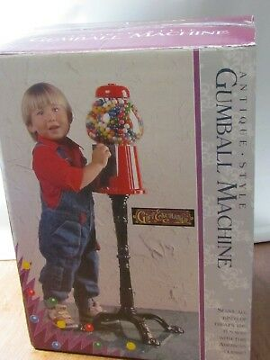 Antique Style Red Carousel Gumball Machine Glass Globe Coin Operated with Box