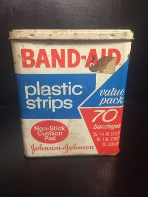 Vintage Band-aid Metal Tin Johnson & Johnson 70 Plastic Strips Economy Pack
