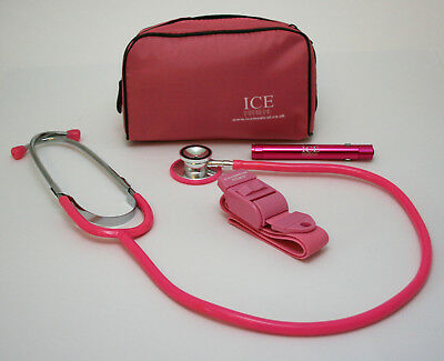 New PINK Tourniquet, LED Penlight and Stethoscope Set