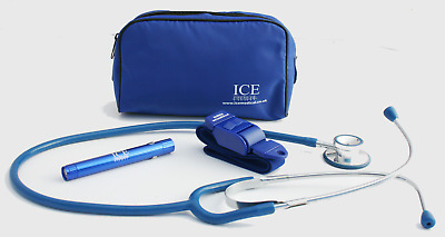 New BLUE Tourniquet, LED Penlight and Stethoscope Set