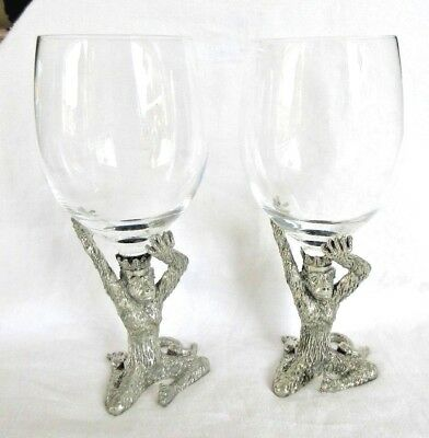 "2 Retired FRANKLI WILD ""KING MONKEY"" PEWTER WINE / WATER GOBLETS - RARE!"