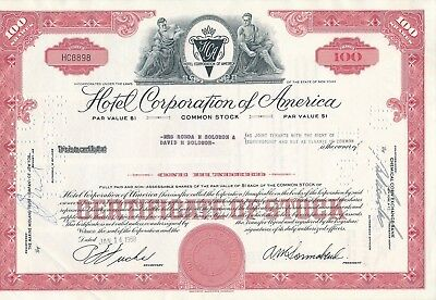 Hotel Corporation of America, HC8898, 14.1.1958, 100 Shares, HOTELS