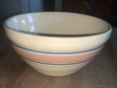 Vintage Kitchen Watt Oven Ware Mixing Bowl Pink Blue Stripes