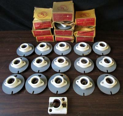 26 Vtg 1950s 60s NOS Outlet Box Receptacle Porcelain Electric Lamp Socket 3 1/4
