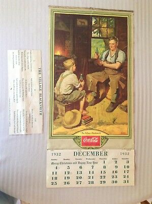 Coca Cola Original 1933 Full Pad Blacksmith Calendar Great Condition