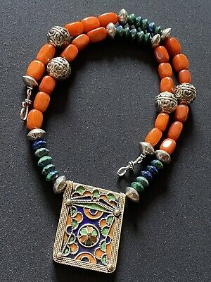 Amazigh Hirz Berber Tifinagh Ethnic silver Enamel pendant with Azurite necklace