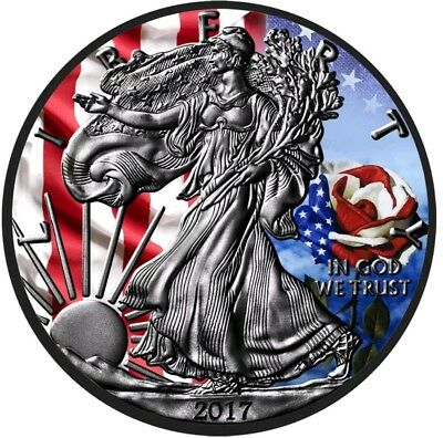 2017 1 Oz Silver $1 U.S FLAG N ROSE EAGLE Ruthenium Coin.