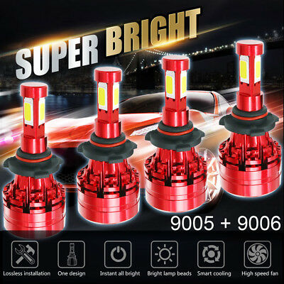 Package Kit 9006 9005 CREE LED 3620W 543000LM Combo Headlight High Low Beam 6K
