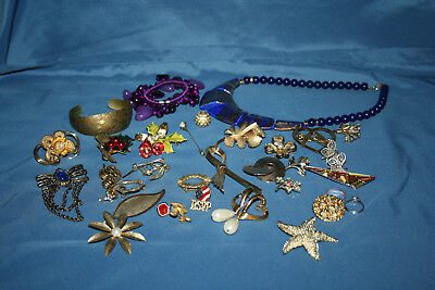 Large Lot of Jewelry: Pins, Brooches, Necklaces, Bracelts, Earrings - Silver