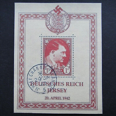 Germany Nazi 1942 Stamp Used JERSEY Sheet Adolf Hitler Swastika WWII Third Reich