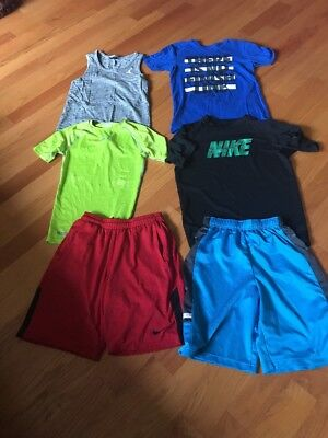 6 Lot Young Mens Nike & Under Armour T-Shirts & Shorts Used Size Small & Med