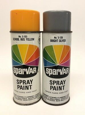 Vintage SparVar No. S-153 School Bus Yellow S-120 Bright Silver Spray Paint Cans